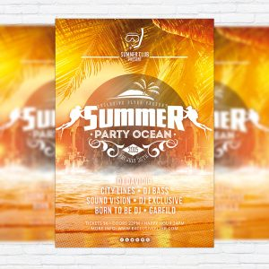 Summer Party Ocean - Premium Flyer Template + Facebook Cover