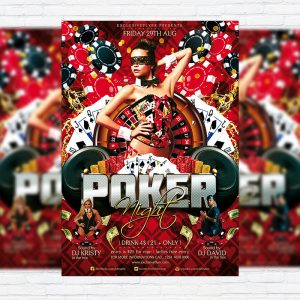 Poker Night - Premium Flyer Template + Facebook Cover