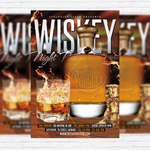 Wiskey Night Party - Premium Flyer Template + Facebook Cover