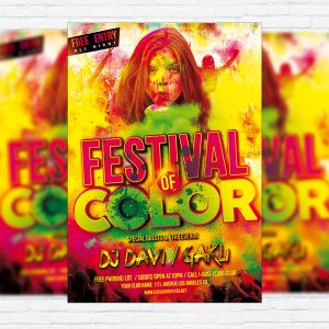Festival of Color - Premium Flyer Template + Facebook Cover