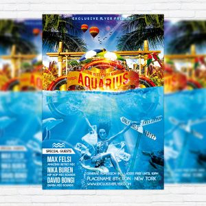 Aquarius Party Night - Premium Flyer Template + Facebook Cover