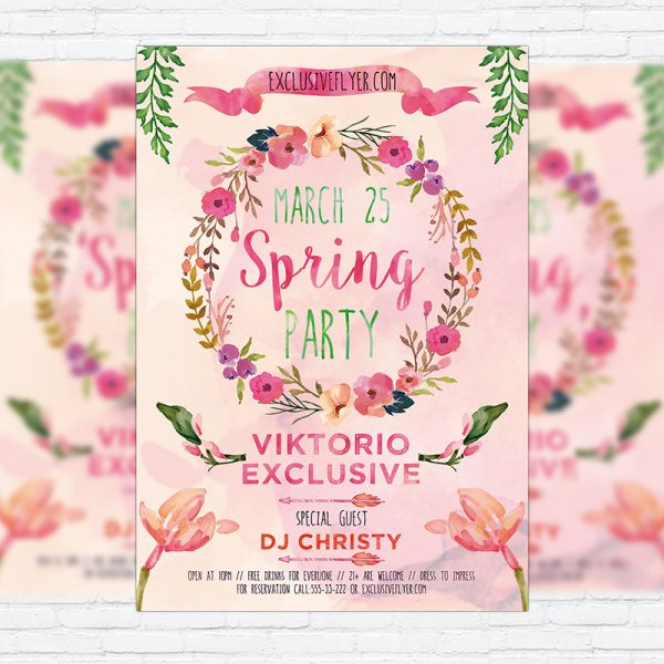 Watercolor Spring - Premium Flyer Template + Facebook Cover