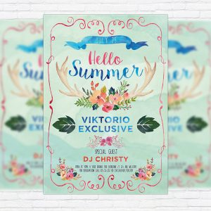 Watercolor Summer - Premium Flyer Template + Facebook Cover