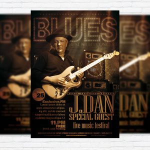 Blues - Premium Flyer Template + Facebook Cover