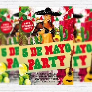 5 de Mayo Party - Premium Flyer Template + Facebook Cover