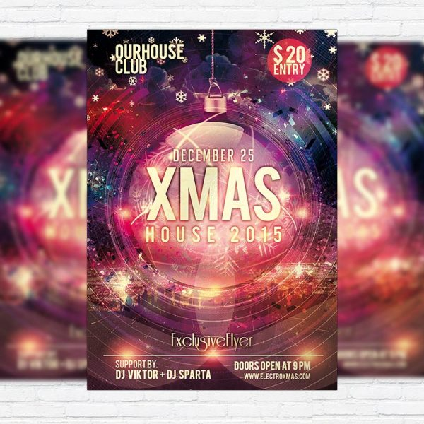 Xmas House Party - Premium PSD Flyer Template