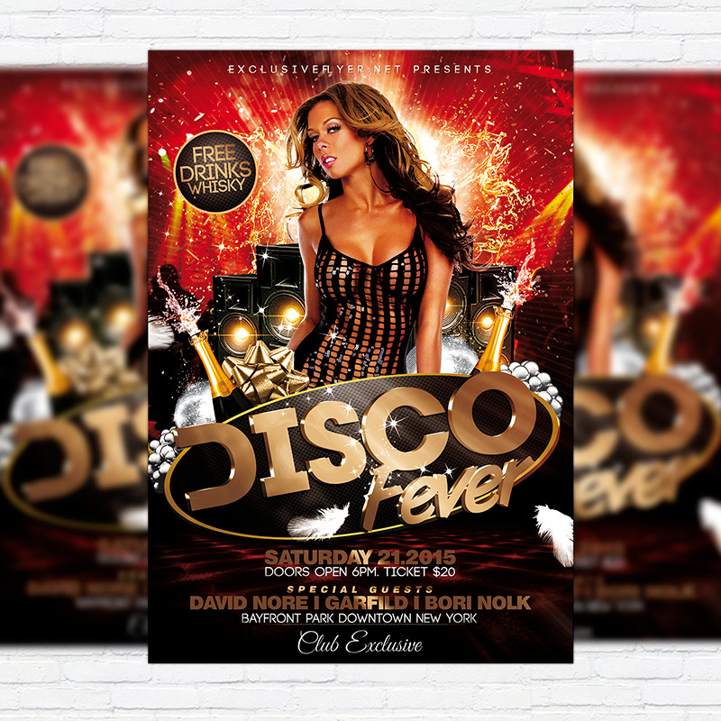 Disco Fever  Premium Flyer Template  Facebook Cover