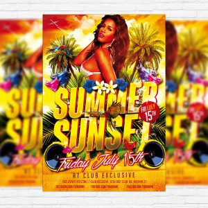 Summer Sunset - Premium Flyer Template + Facebook Cover