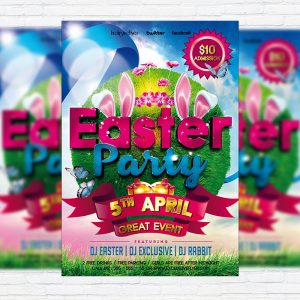 Easter Party - Premium Flyer Template + Facebook Cover