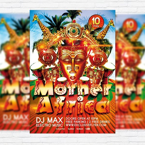Mother Africa Party - Premium Flyer Template + Facebook Cover