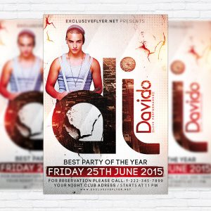 Guest Dj Davido - Premium Flyer Template + Facebook Cover