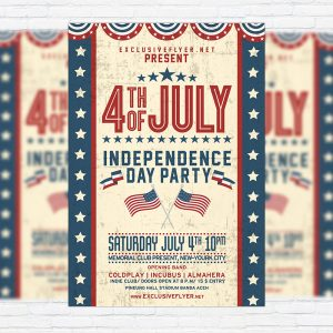4th of July Party - Premium Flyer Template + Facebook Cover