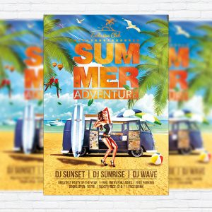 Summer Adventure - Premium Flyer Template + Facebook Cover