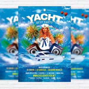 Yacht Party - Premium Flyer Template + Facebook Cover