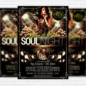 Soul Night - Premium Flyer Template + Facebook Cover