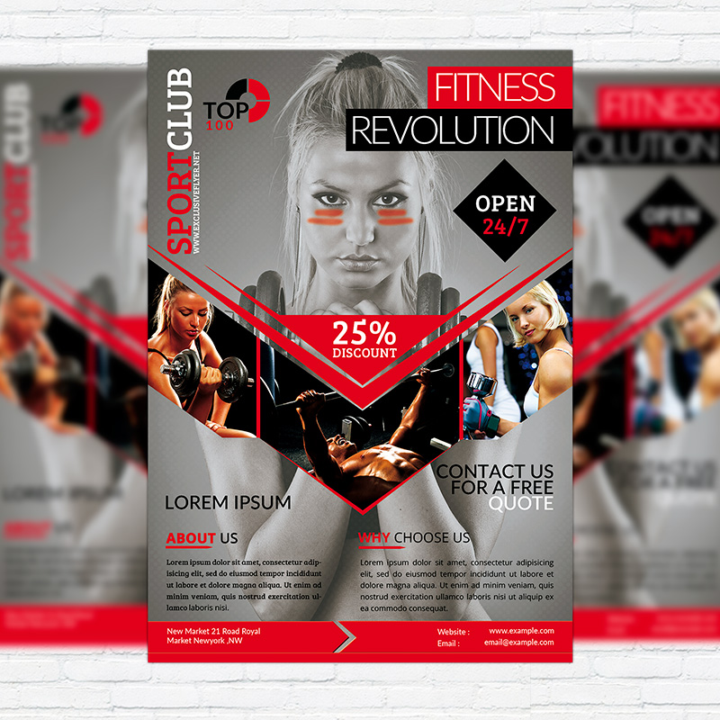 Fitness Revolution   Premium Flyer Template + Facebook Cover  Free Fitness Flyer Templates