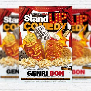 Stand Up Comedy - Premium Flyer Template + Facebook Cover