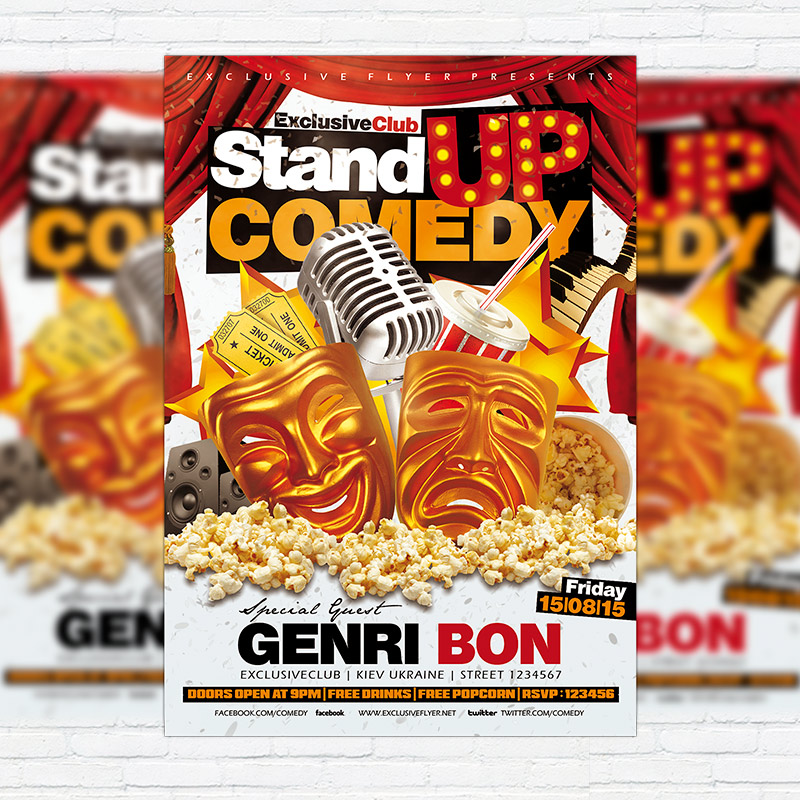 Stand Up Comedy – Premium Flyer Template + Facebook Cover