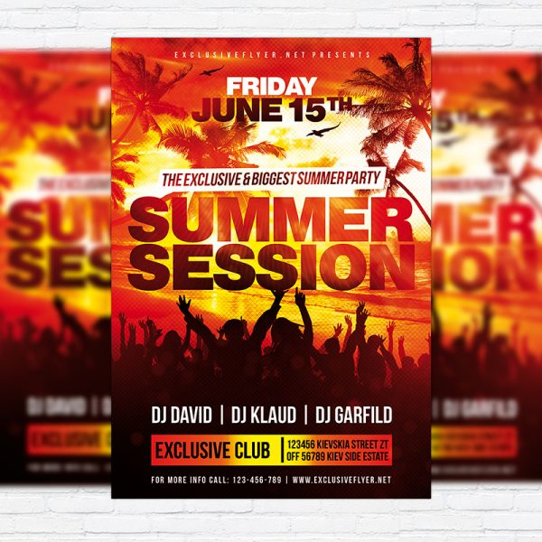 Summer Session - Premium Flyer Template + Facebook Cover