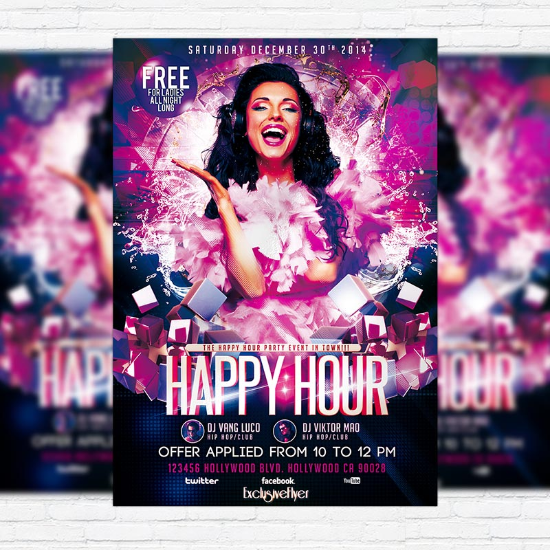 Happy Hour Party   Premium PSD Flyer Template