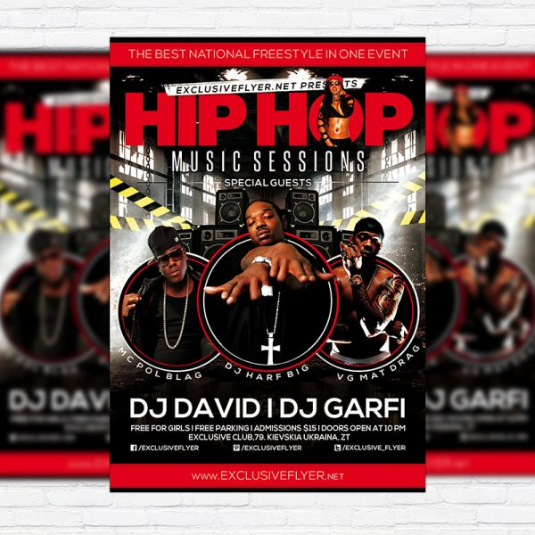 Hip Hop Music Sessions - Premium Flyer Template + Facebook Cover