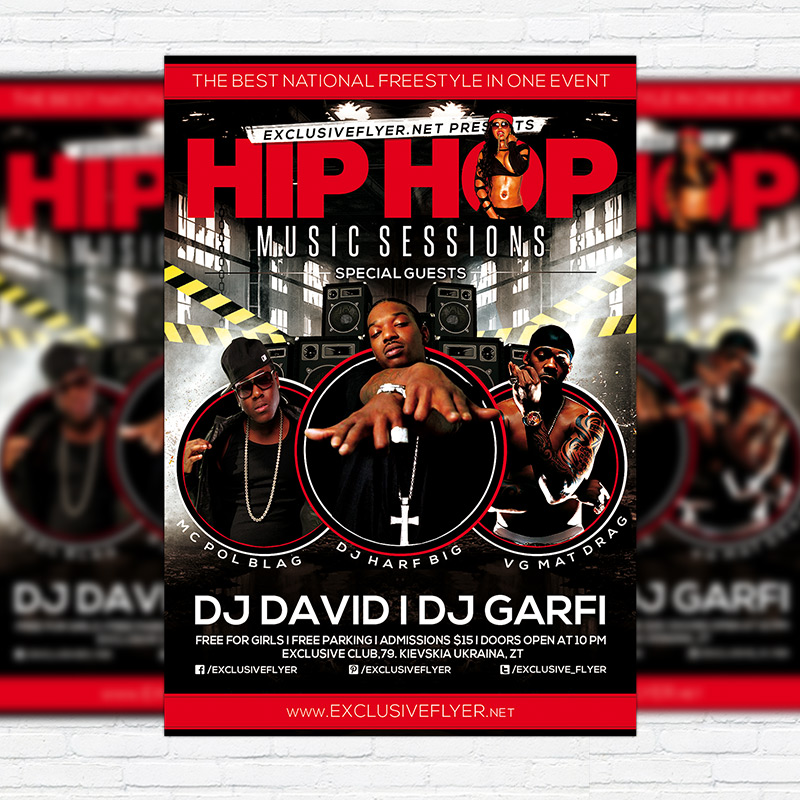 Hip Hop Music Sessions  Premium Flyer Template  Facebook Cover