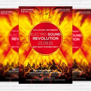 Electro Sound Revolution - Premium Flyer Template + Facebook Cover