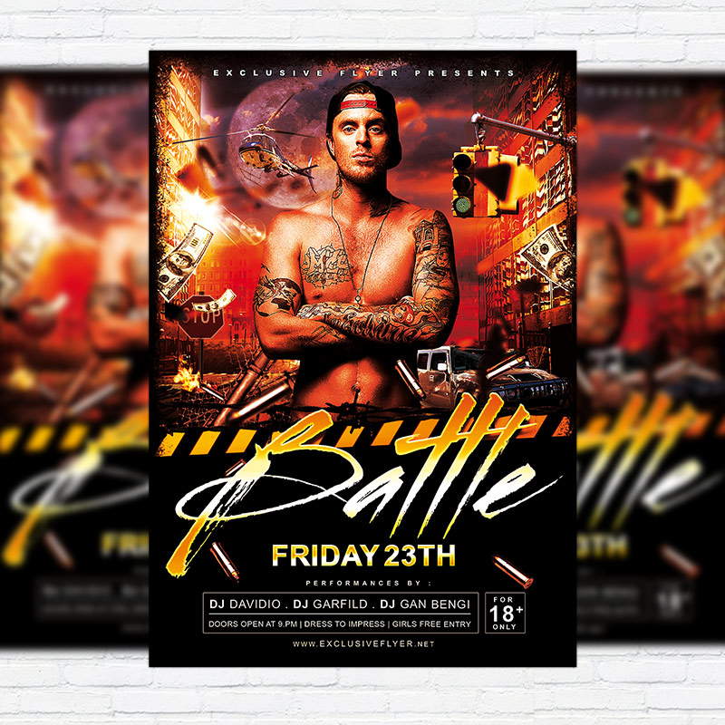 rapper battle premium flyer template facebook cover