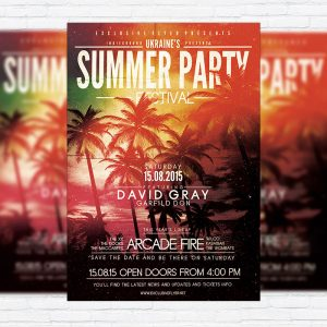 Summer Party Festival - Premium Flyer Template + Facebook Cover