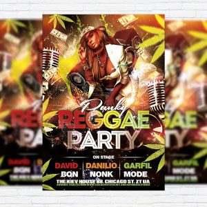 Reggae Party - Premium Flyer Template + Facebook Cover