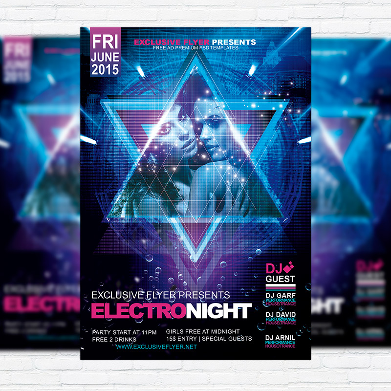 Electro Night  Premium Flyer Template  Facebook Cover