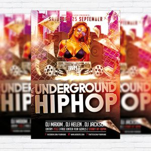 Underground Hip Hop - Premium Flyer Template + Facebook Cover