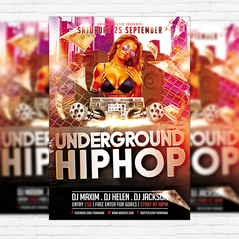 Underground Hip Hop – Premium Flyer Template + Facebook Cover