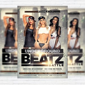 Underground Beatz Battle - Premium Flyer Template + Facebook Cover