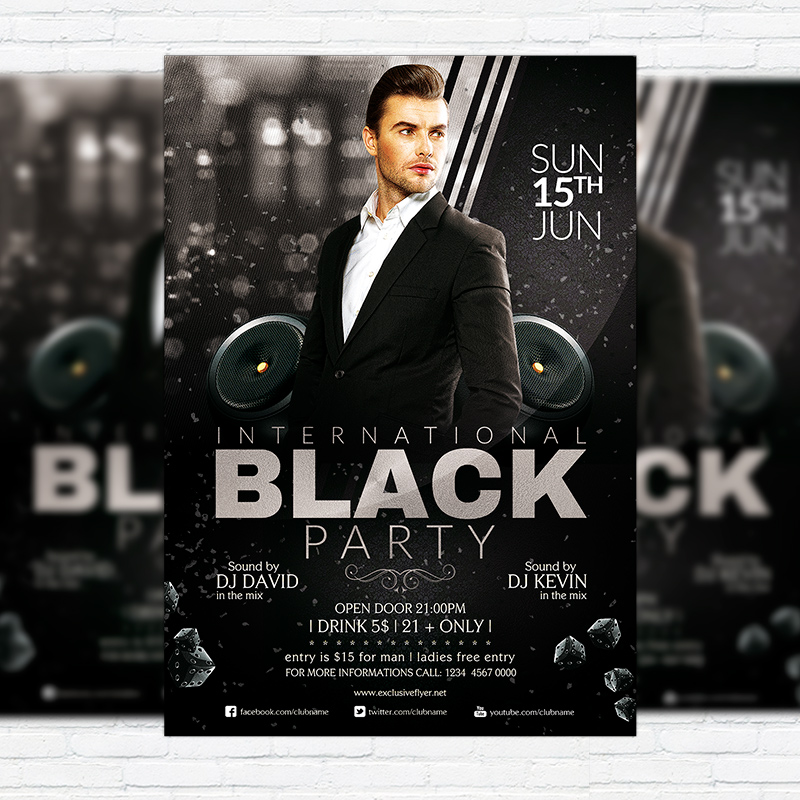 International Black Party  Premium Flyer Template  Facebook Cover