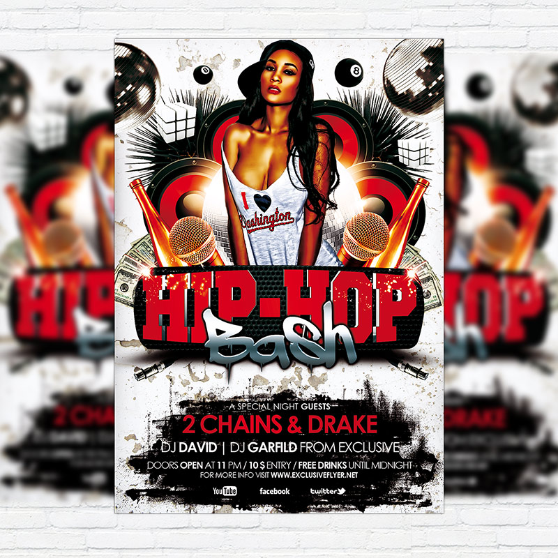 Hip Hop Bash  Premium Flyer Template  Facebook Cover
