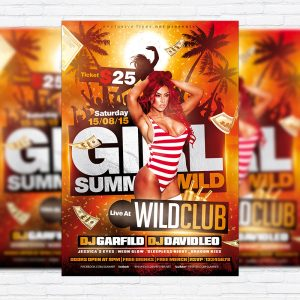 Girl Summer Wild - Premium Flyer Template + Facebook Cover