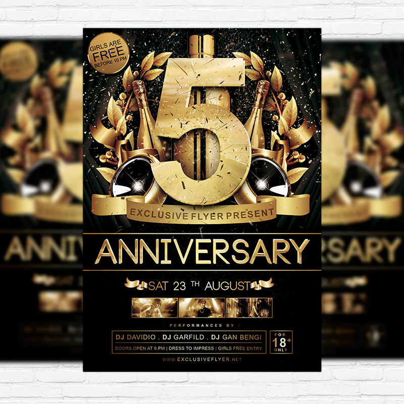 anniversary � premium flyer template facebook cover