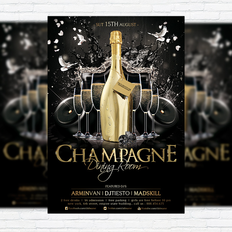 champagne dining room premium flyer template facebook cover