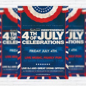 4th of July Celebrations - Premium Flyer Template + Facebook Cover