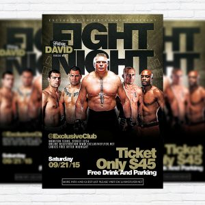 Fight Night Vol.2 - Premium Flyer Template + Facebook Cover