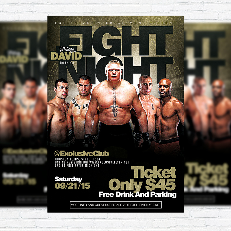 Fight Night Vol  Premium Flyer Template  Facebook Cover