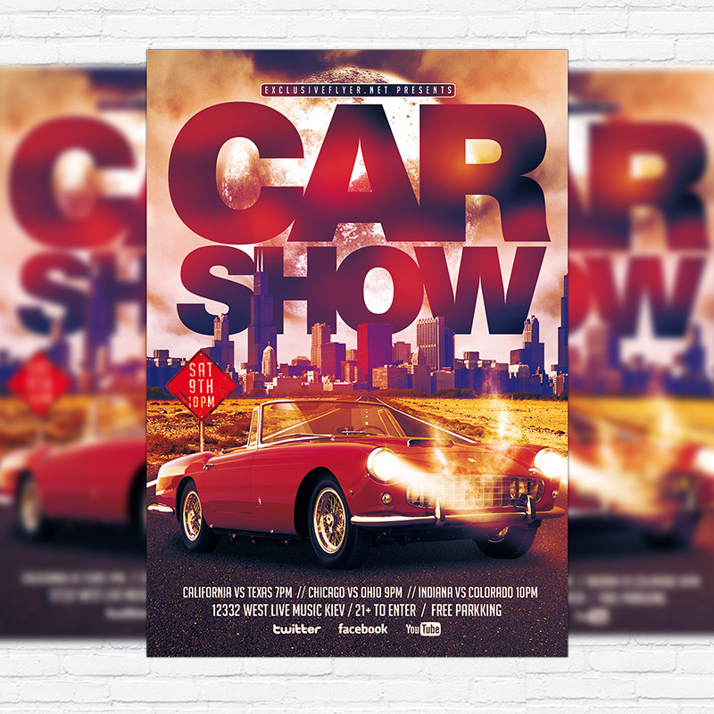 Car Show – Premium Flyer Template + Facebook Cover | Exclsiveflyer