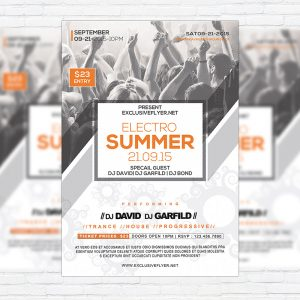 Electro Summer - Premium Flyer Template + Facebook Cover