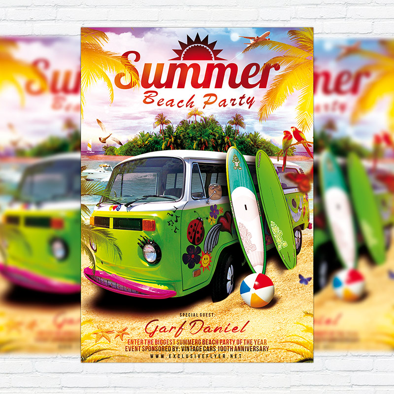 Summer Beach Party   Premium Flyer Template + Facebook Cover
