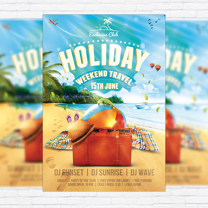 summer holiday travel premium flyer template facebook cover exclsiveflyer free and. Black Bedroom Furniture Sets. Home Design Ideas