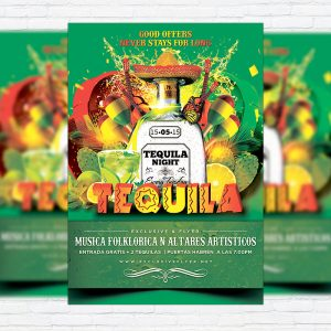 Tequila Party - Premium Flyer Template + Facebook Cover