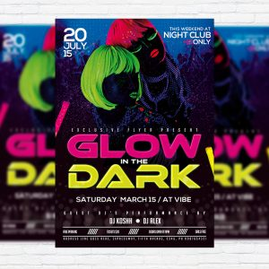Glow in the Dark - Premium Flyer Template + Facebook Cover