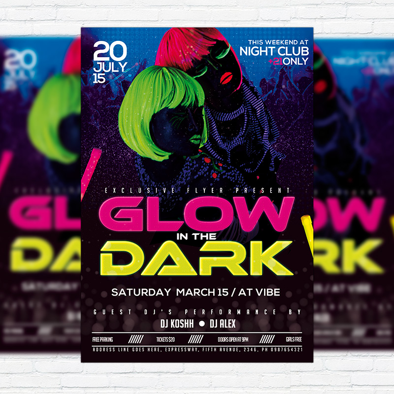 Glow In The Dark  Premium Flyer Template  Facebook Cover