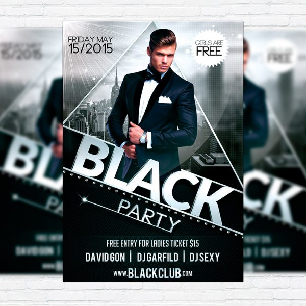 Black Party - Premium Flyer Template + Facebook Cover
